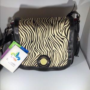 Kalencom calf skin Zebra print & black diaper bag